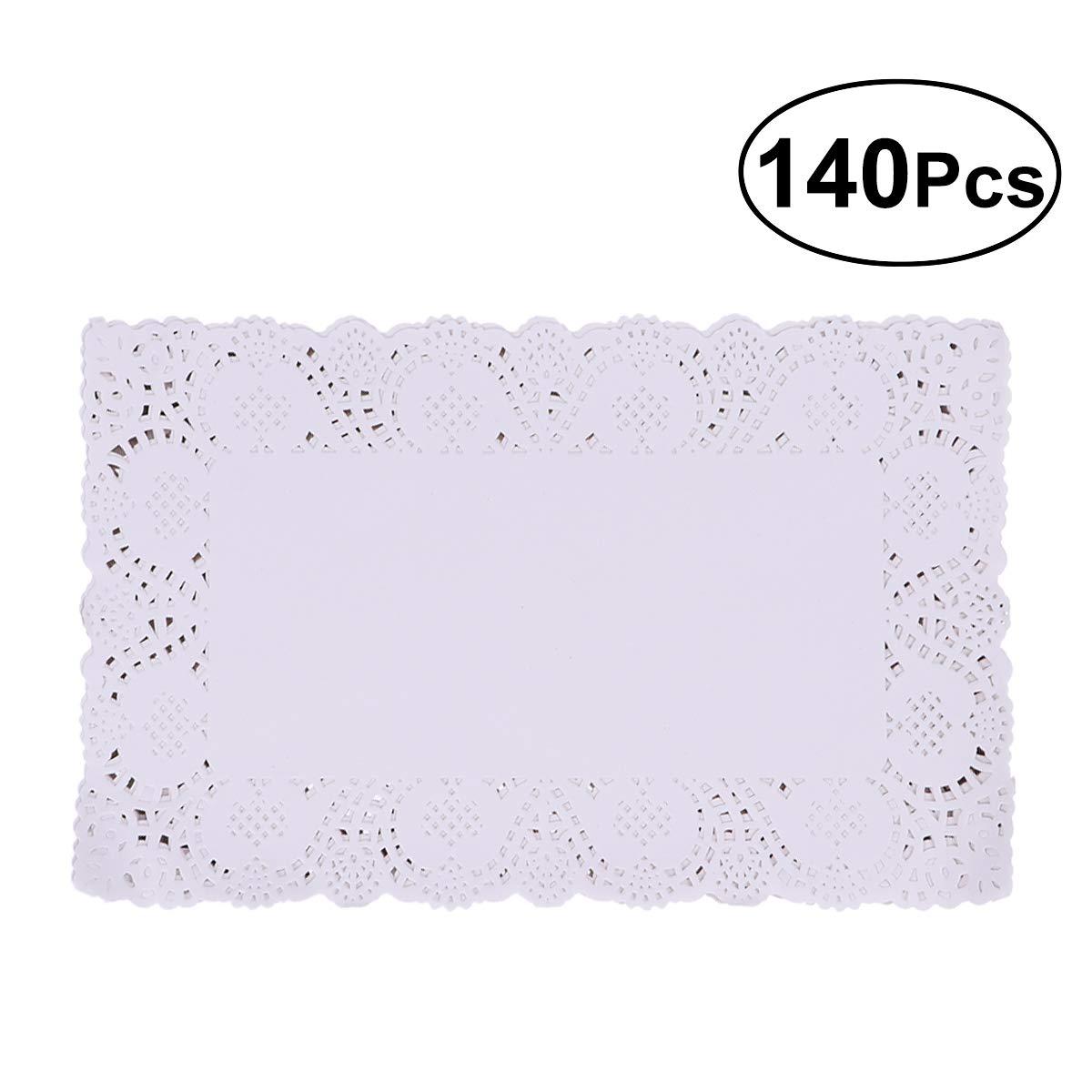 BESTONZON 140 pcs Centrini di carta in pizzo rettangolari monouso multiuso in bianco 25x35cm