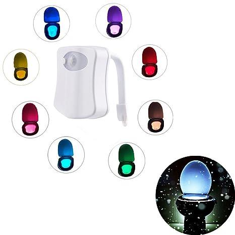 WC luz nocturna LED Luz de Inodoro Luz con Detección de movimiento del sensor automático,