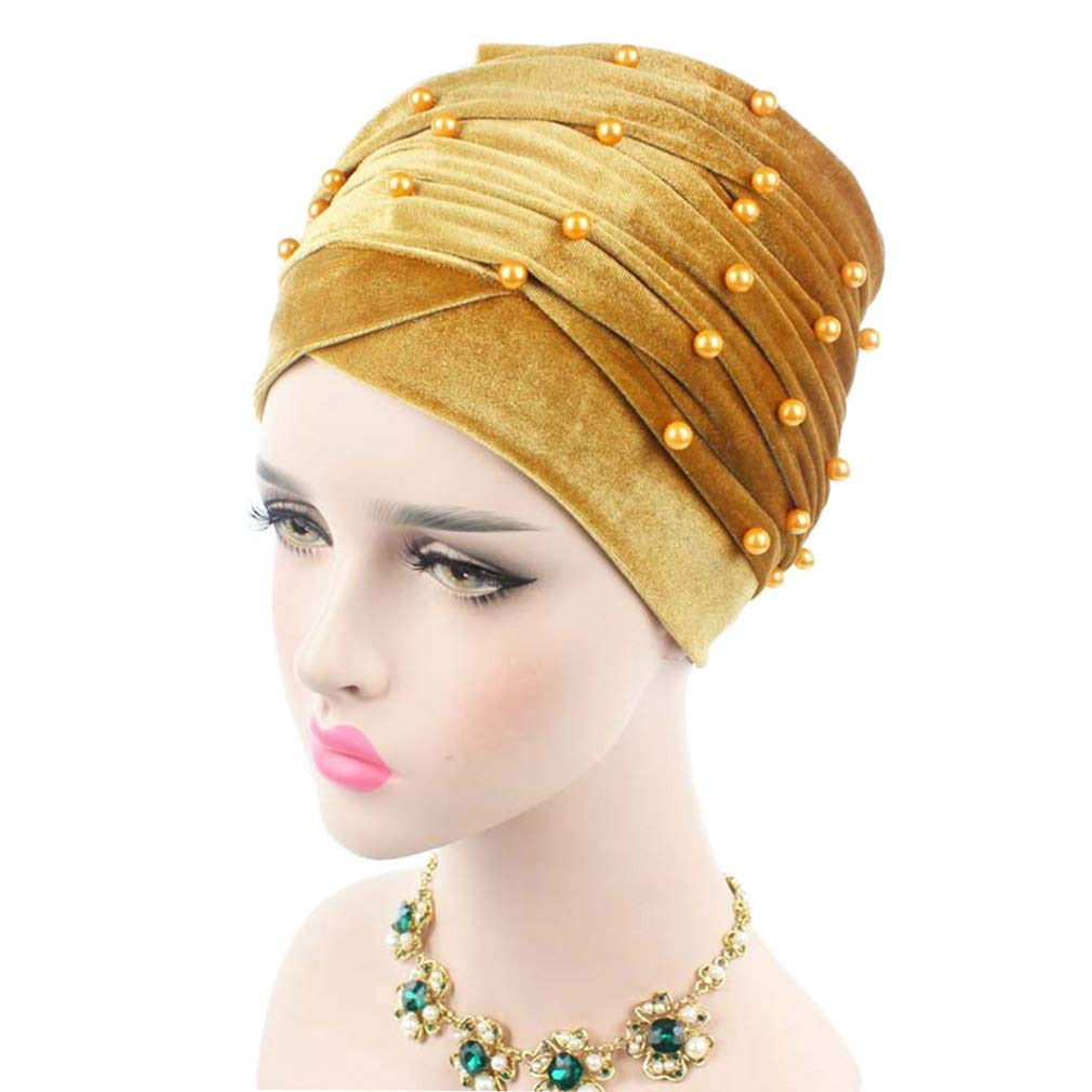 Amazon.com: Helisopus Womens Luxury Velvet Turban Headband Pearl Pleated Long Head Wrap Hijab Tube Scarf: Beauty