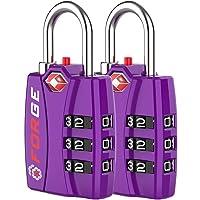 Forge TSA Lock Purple 2 Pack - Open Alert Indicator Easy Read Dials Alloy Body