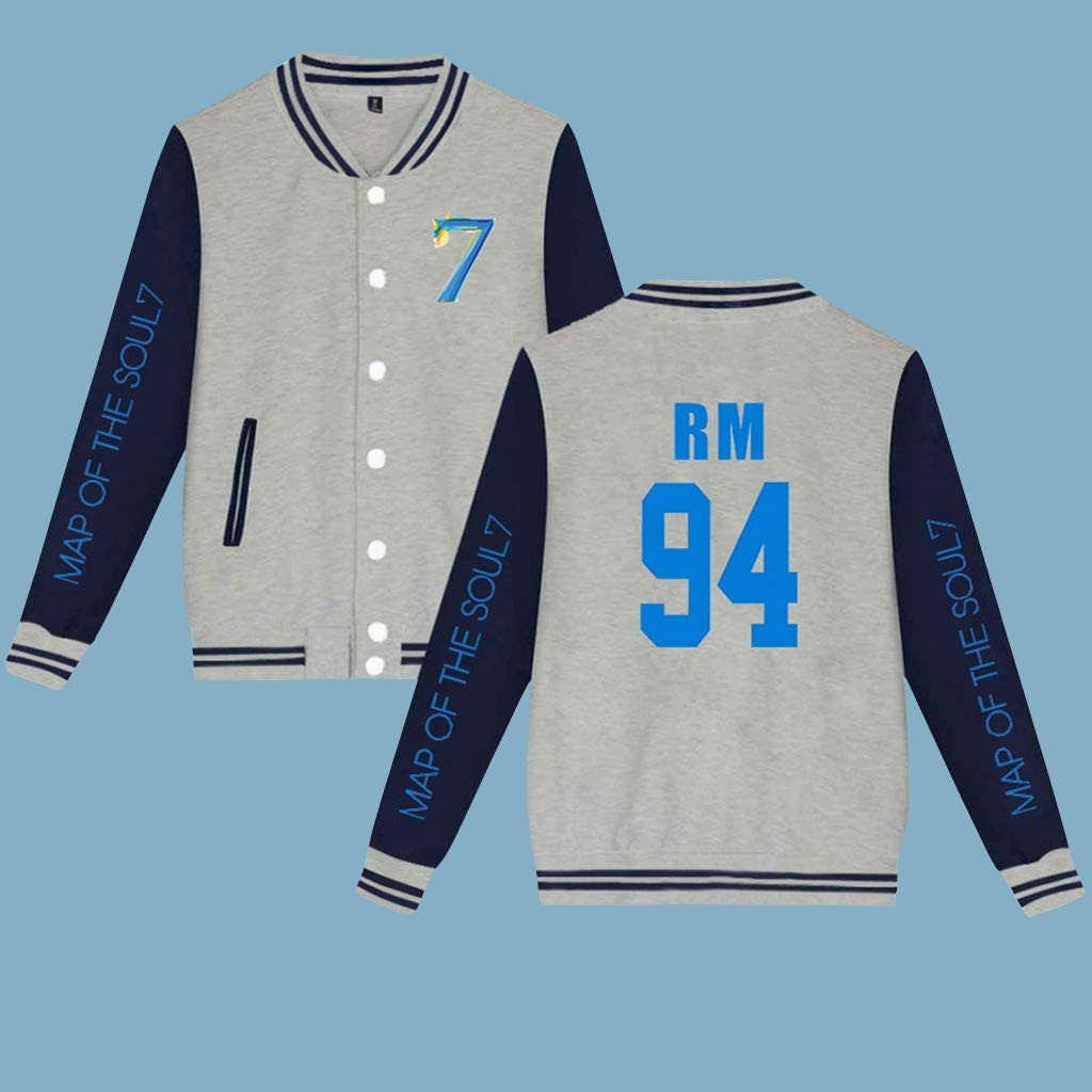 PowerTop Unisex Kpop BTS Bangtan Boys RM Baseball Jackets Album Map of The Soul 7 Jacket Uniform Sweatshirt Sweater Coat