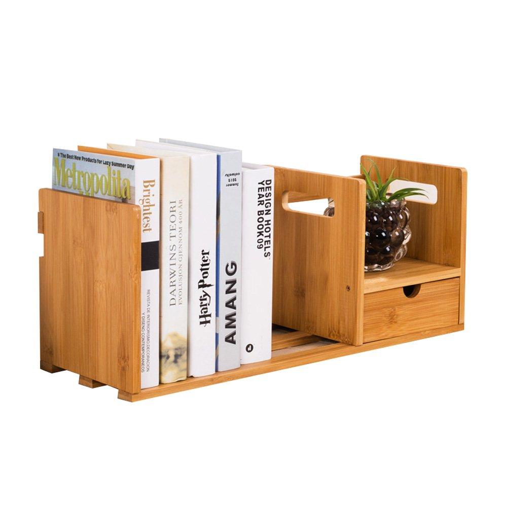 1 drawer Multi-Function Cabinet Simple Bamboo Wood Bookshelf, Table Rack Storage Box Office Desktop Finishing Shelf (Design   1 Drawer)