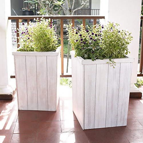 Outdoor Planter Set of 2 Made of Eucalyptus Wood in Antique White ()
