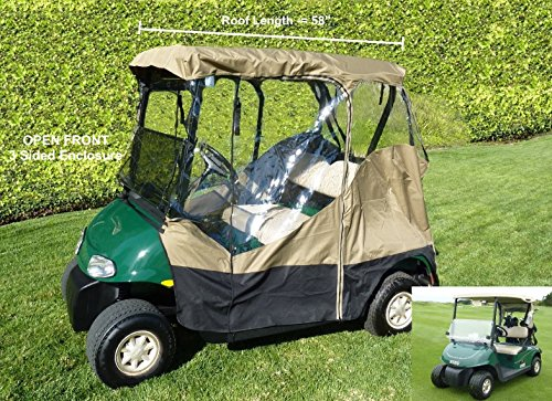 3 Sided Drivable Golf Cart 2 seater Enclosure with Zippered door, fits E Z GO, Club Car and Yamaha G model roof up to 58