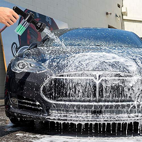 VOLADOR Foam Sprayer, Garden Hose Spray Nozzle Car Wash Foam Gun with 100cc Bottle, Snow Foam Lance with Washing Mitt, 8 Spray Patterns Foam Blaster for Car Washing, Plants Watering and Pets Showering