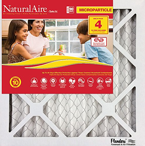 Flanders PrecisionAire 85756.012122 NaturalAire Micro Particle Red Pleat Air Filter (4 Pack), 21 x 22 x 1""
