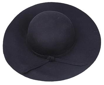 26b55be357016 EOZY Women Black Soft Floppy Wide Brim Crushable Fedora Dress Hat Retro  Gothic Wool Bowknot Band
