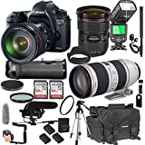Canon EOS 6D Mark II 24-70mm f/2.8 L is II USM + 70-200mm f/2.8 L is II USM + 128GB Memory + Pro Battery Bundle + Power Grip + Microphone + TTL Speed Light + Pro Filters,(24pc Bundle)