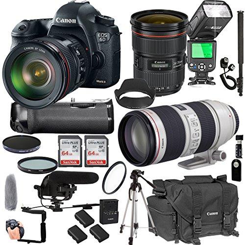 Cheap Canon EOS 6D Mark II with 24-70mm f/2.8 L is II USM + 70-200mm f/2.8 L is II USM + 128GB Memory + Pro Battery Bundle + Power Grip + Microphone + TTL Speed Light + Pro Filters,(24pc Bundle)