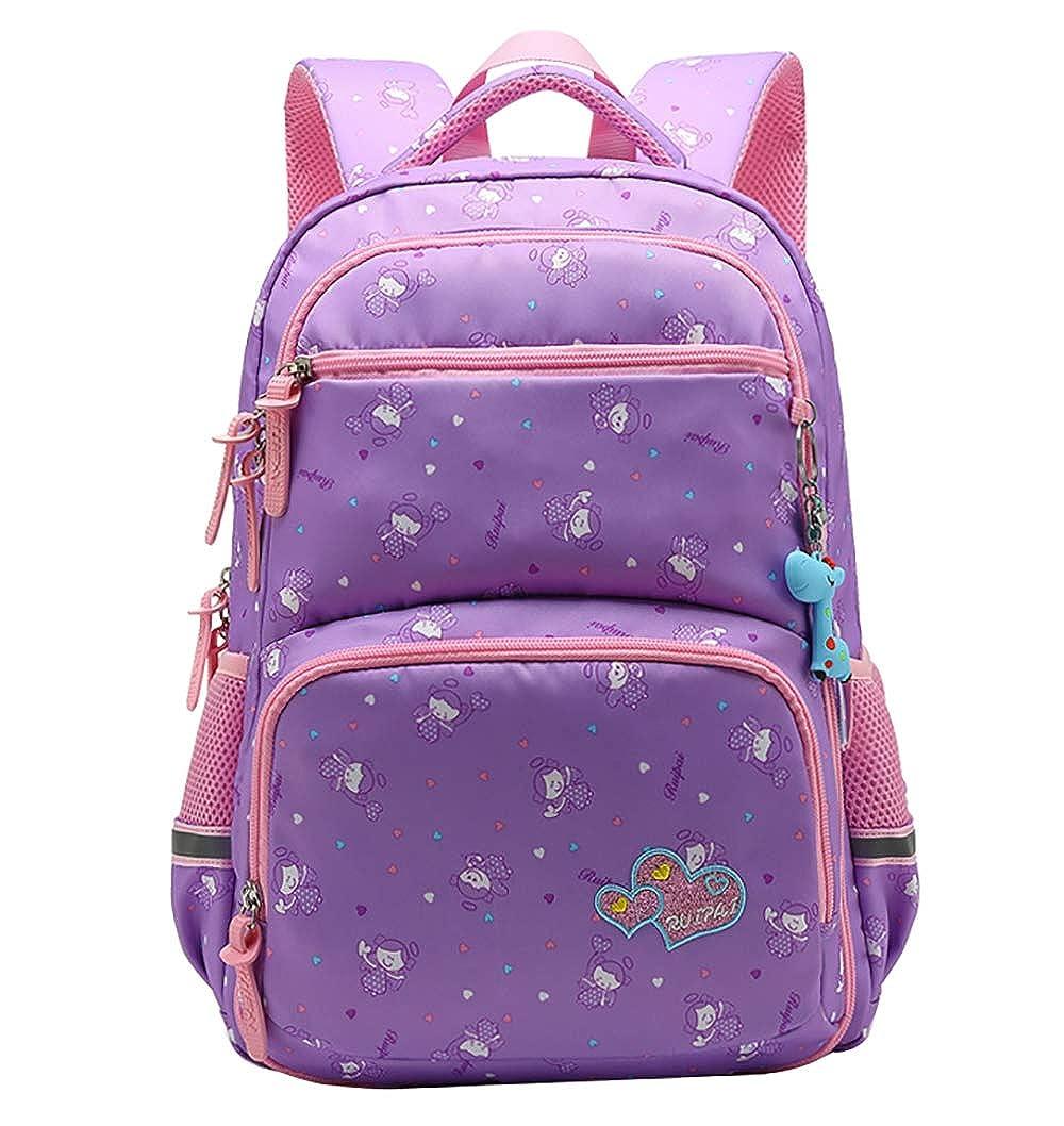 FLHT, borsa per la scuola elementare Zaini per bambine 6-8 anni di età, zaino leggero da studente 1-3-6 leggero per studenti
