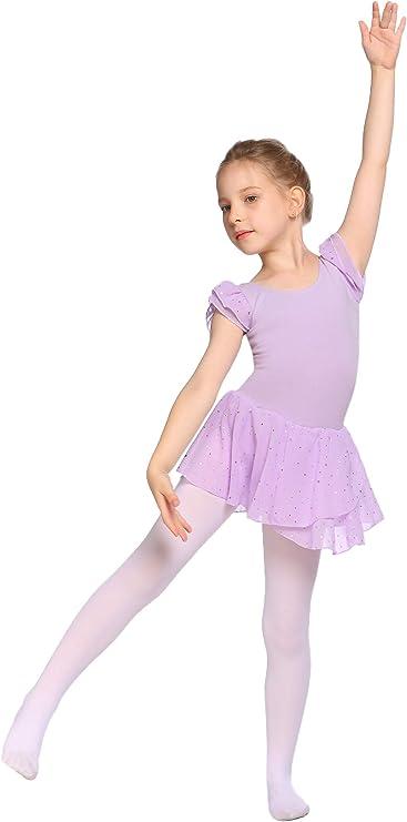 vestido de ballet maillot bonito vestido de danza para ni/ños de 3 a 11 a/ños 120 a 160 c/ómodo traje de ballet con puntos brillantes MAXMODA Vestido de ballet para ni/ña