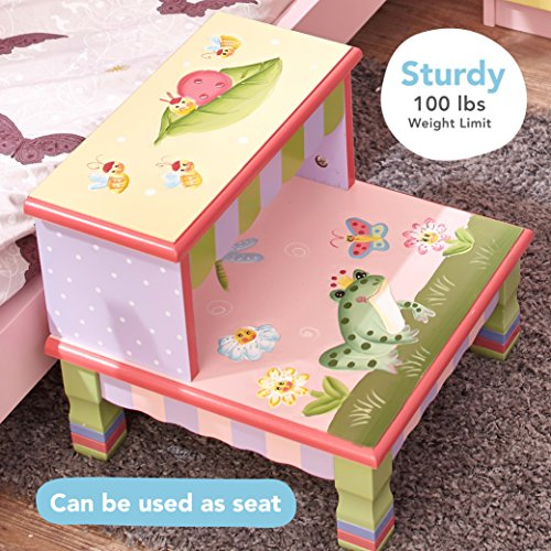 Fantasy Fields - Magic Garden Thematic Kids Wooden Step Stool with Storage | Imagination Inspiring Hand Crafted & Hand Painted Details   Non-Toxic, Lead Free Water-based Paint