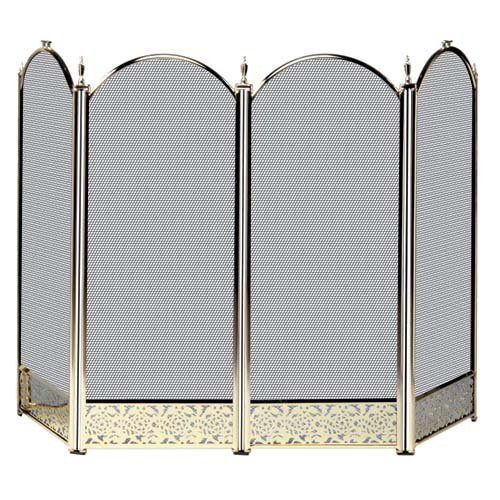 (UniFlame 4 Panel Brass Filigree Fireplace Screen)