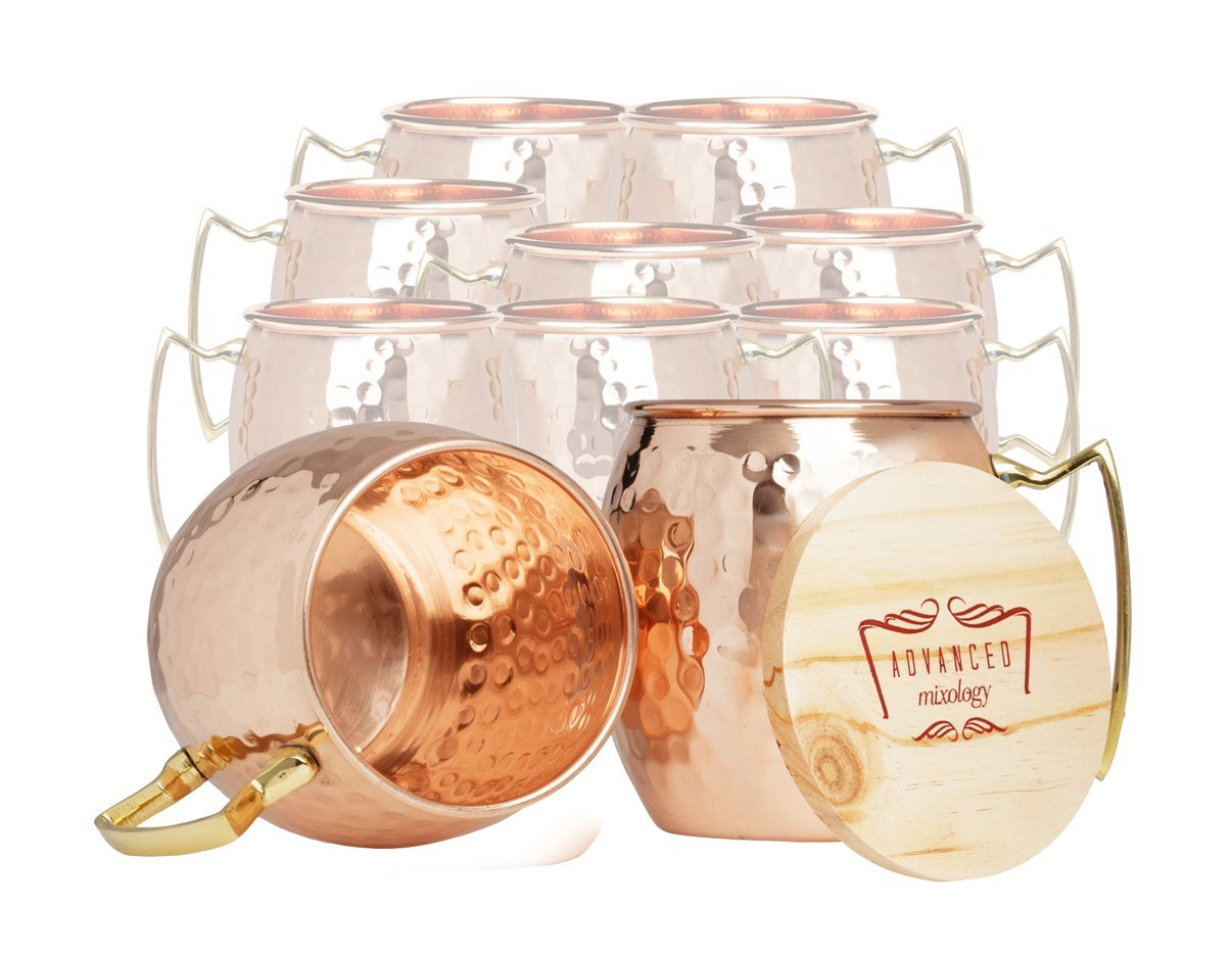 Set of 10 100% Pure Copper Moscow Mule Mugs By Advanced Mixology (16 oz each) with 10 Artisan Hand Crafted Wooden Coasters - Barrel With Brass Handle