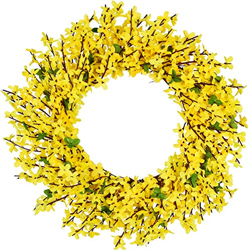 DearHouse Artificial Forsythia Flower Wreath - 17.5
