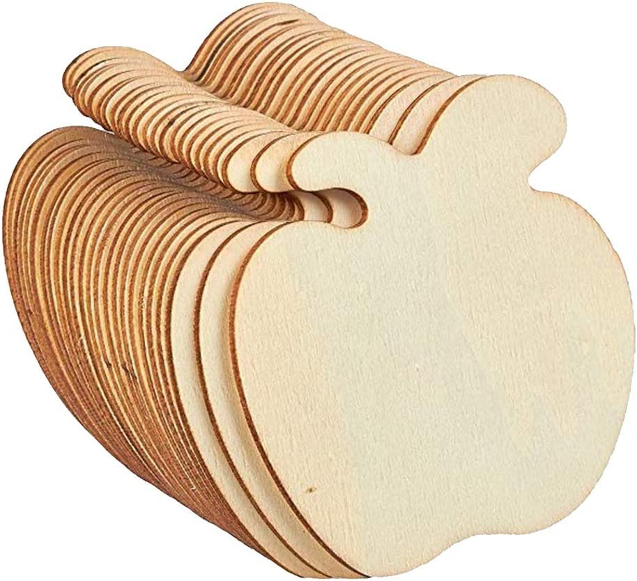 20pcs Unfinished Wood Cutout Apple Shaped Wood Pieces for Wooden Craft DIY Projects, Gift Tags,Painting, Writing, Photo Props and Decorations
