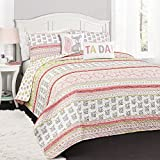 Lush Decor 16T002270 4 Piece Fox Ruffle Stripe Quilt Set, Twin, Pink/Gray