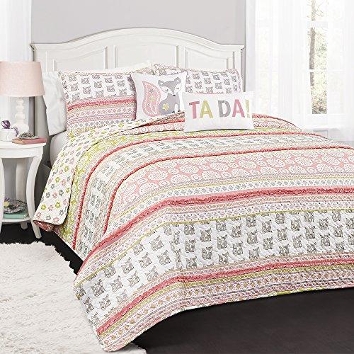 Lush Decor 5 Piece Fox Ruffle Stripe Quilt Set, Full/Queen, - Bedding Pink Stripe