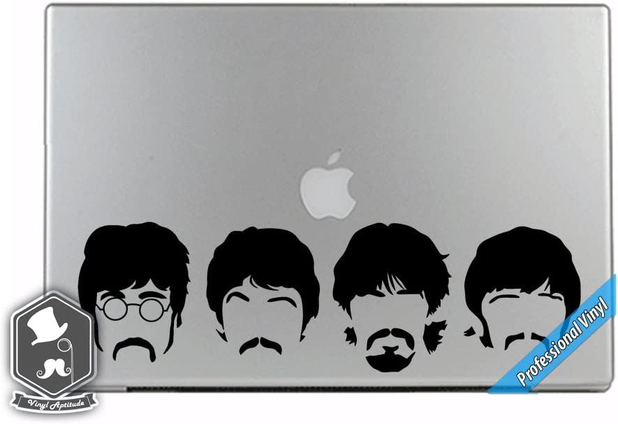 Music Inspired 4 Beatle Heads Vinyl Decal Sticker for Apple MacBook Dell HP Alienware Asus Acer or Any Laptop Notebook PC Computer