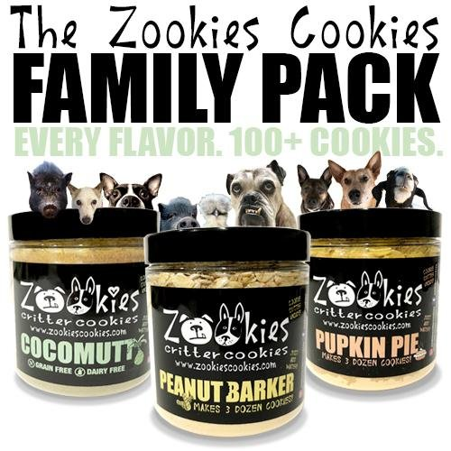 Zookies Cookies The Pawfect Family Pack - Organic Bake at Home Dog Treats, 8 oz - Makes over 100 cookies