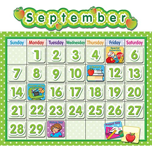Teacher Created Resources TCR4188 Polka Dot School Calendar Bulletin Board Set, Paper, Multi