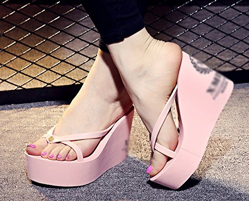 5 with Slope redcolor US UK 4 High Thick flops AWXJX heeled style flops waterproof flip 6 summer flip 37 Simple women's EU bottom Pink H7qSUO