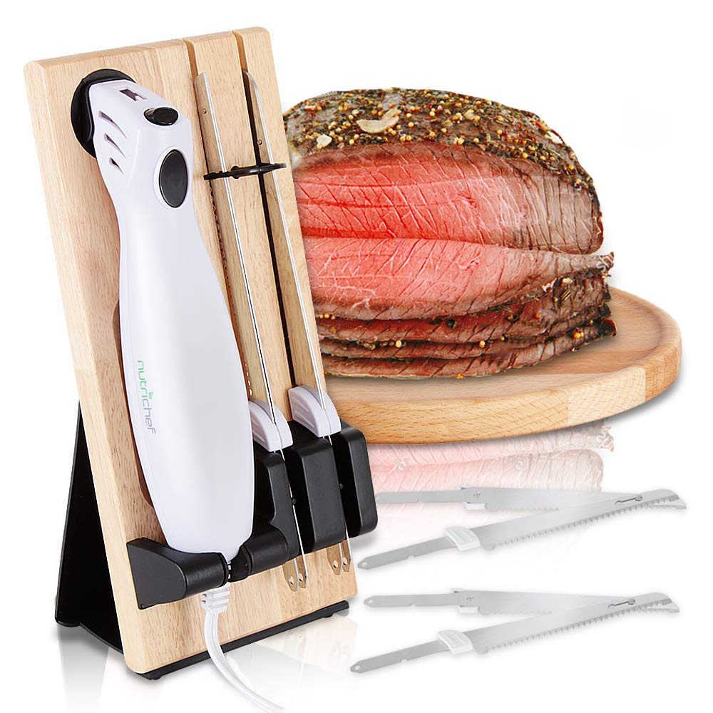Electric Carving Slicer Kitchen Knife - Portable Electrical Food Cutter Knife Set with Bread and Carving Blades, Wood Stand, For Meat, Turkey, Bread, Cheese, Vegetable, Fruit - NutriChef