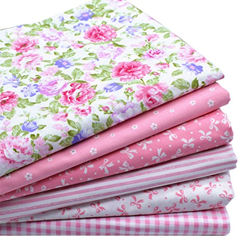 iNee Pink Fat Quarters Fabric Bundles, Quilting Fabric for Sewing Craft, 18