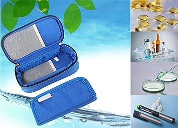 enshey estuche de insulina Cool bolsa médica – Ventilador portátil para diabetes insulinas y drogas casa viaje uso, azul: Amazon.es: Deportes y aire libre