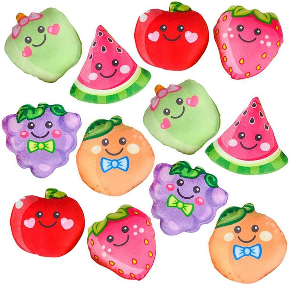 ArtCreativity Plush Fruit Toys for Kids, Set of 12, Soft and Cuddly Soft Stuffed Toys, Includes Apples, Strawberries, Grapes, and Oranges, Plush Party Favors for Kids, Cute Fruit Theme Decorations