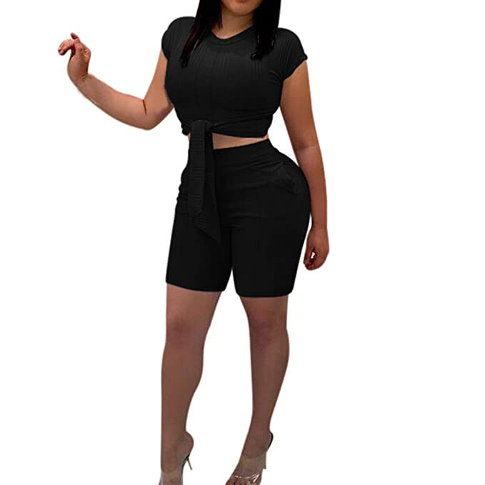 3a10175c5f3 2 Piece Outfits for Women Summer-Casual Short Sleeve Crop Top and Shorts Set  Jumpsuits