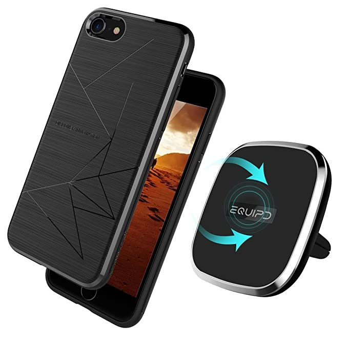 best service 13ad3 d3cda Qi Wireless Charger with Apple iPhone 8 Magic Case Included-Vent Mounted  2-in-1 Magnetic Charging Pad for iPhone 8, 360 Degree Rotation, Strong ...