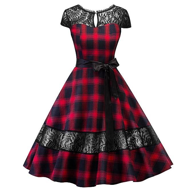 iBaste Mango Corto Vestido Mujer Vintage Hepburn Cuadros Clásicos Costura de Encaje Dress Sexy Vestidos A