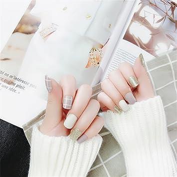 Arte de Uñas, Nail Art Tip & Glue Grids Pattern Glitter Matte Artificial False Nails