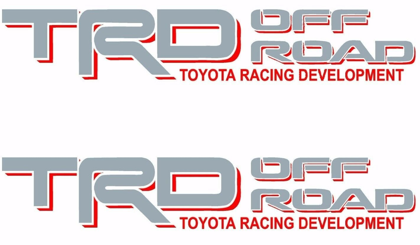 Toyota TRD OFF ROAD Tstick New Gray Red White Decals Vinyl Stickers Graphics Letters Side Pickup Tacoma 4X4 Truck Auto Car Compatible Design Use For