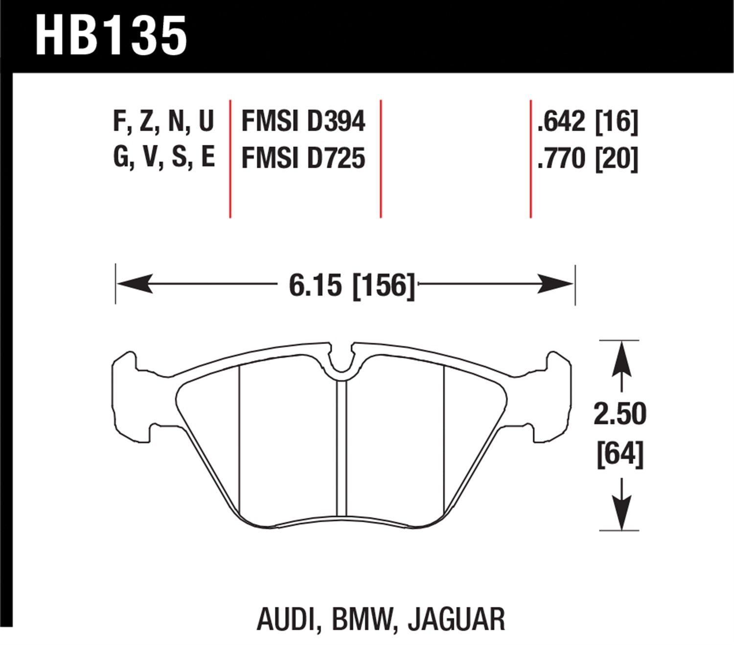 Hawk Performance HB135B.770 HPS 5.0 Disc Brake Pad