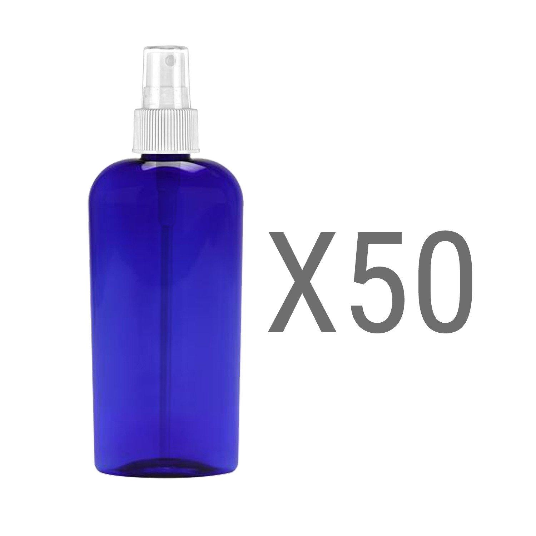 MoYo Natural Labs 8 Oz Large Mist Spray Bottle Refillable Reusable Empty 8 oz Fine Mist Bottle 3 Pack Cobalt Blue Oval 8 OZ Pack of 50