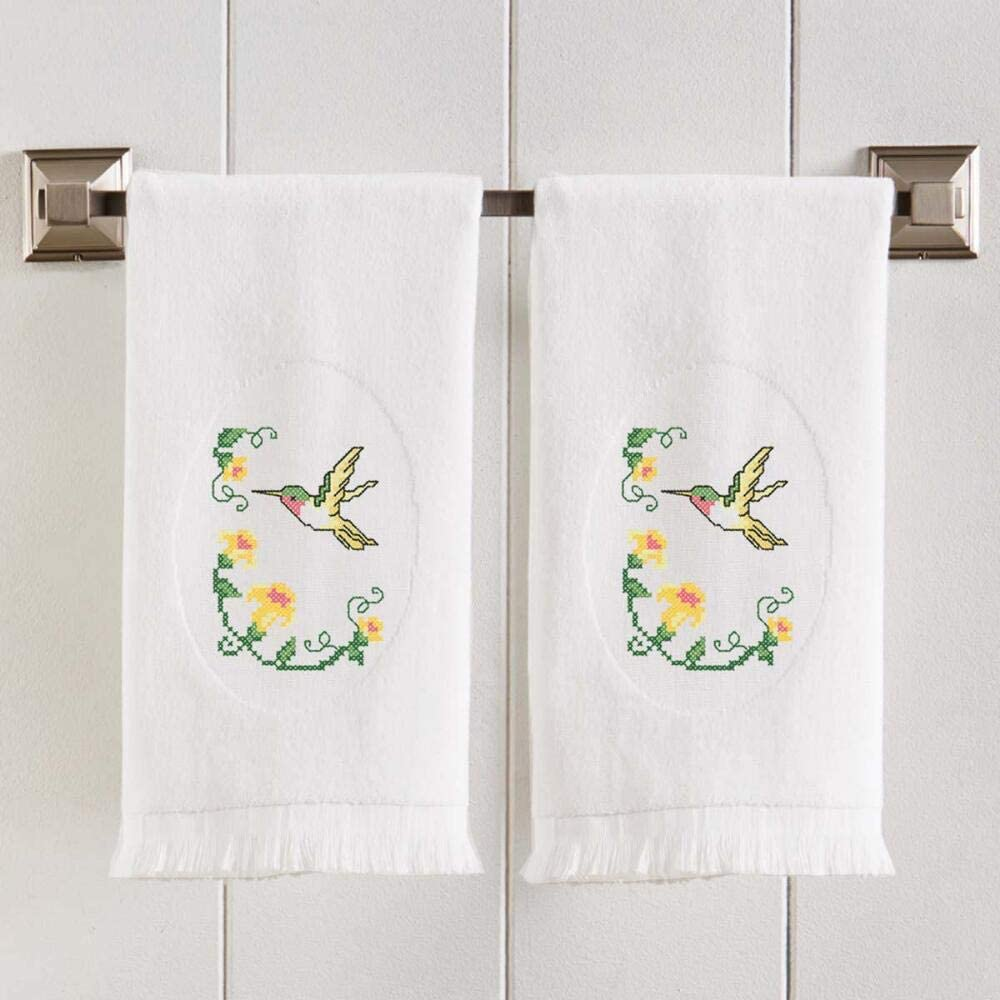 Herrschners Glorious Hummingbird Terry Towel Pair Stamped Cross-Stitch