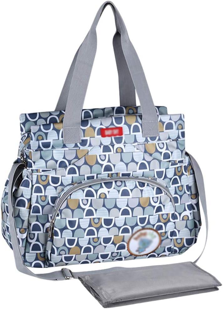 Haobing Bolso multifunción Mamá Papá Bolso Cambiador Bolsos Bebé Chic Totes Shoppers Bolsos de Hombro para pañales (Azul, 37x33x13cm)