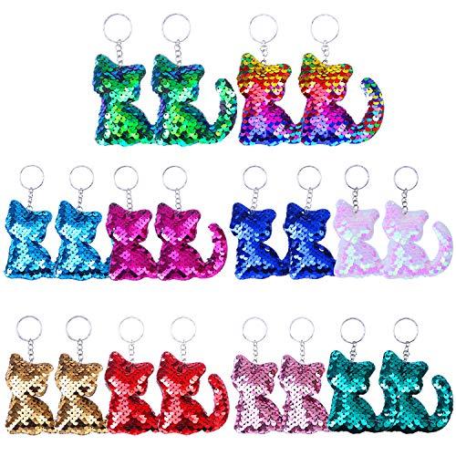 Elcoho 20 Pieces Cat Shape Flip Sequin Keychain Reversible Sequins Glitter Keychain for Keys Handbags Decoration Party Favor,10 ()