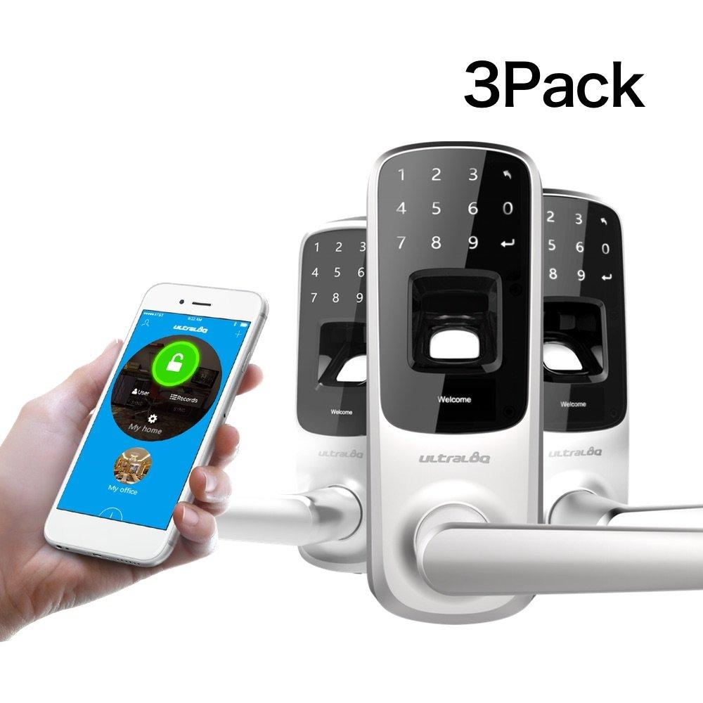 3 Pack Ultraloq UL3 BT Bluetooth Enabled Fingerprint and Touchscreen Keyless Smart Door Lock with Deadbolt Cover Plate(Satin Nickel)