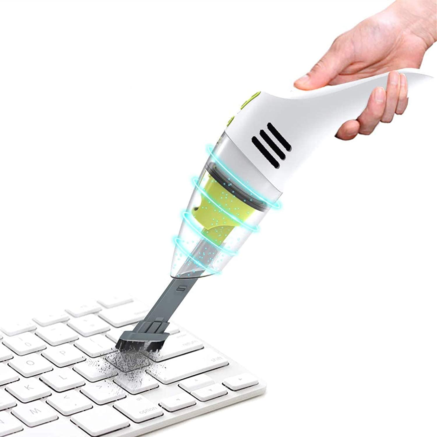 Air Duster and Hand Pump 3 in 1 Portable Dust Busters Easy to Clean for Car,Home Pet Hair Keyboard,Computer,Laptop Mini Handheld Vacuum Cleaner Cordless Car Hand Held Vaccume