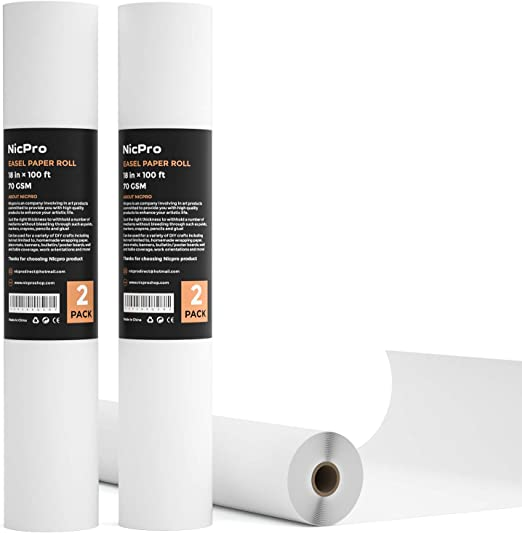 X 35 FT 18 IN ROLL WHITE PAPER REFILL EASEL DRAWING TABLE COVER SHELF LINER