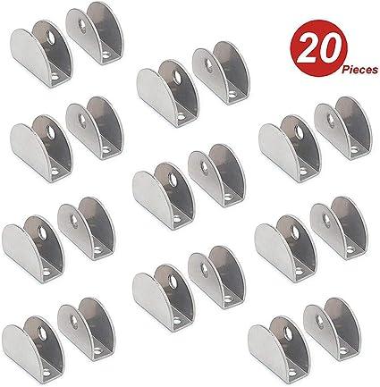 Nuzamas Set Di 20 Staffe Per Mensole In Vetro 201 In Acciaio