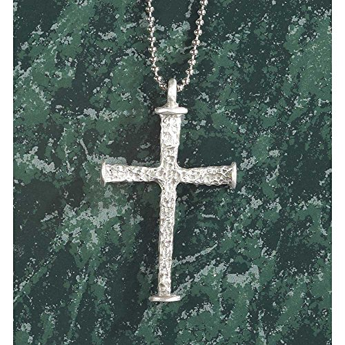 Stippled Star (Large, Stippled Cross Of Two Nails Brushed Pewter 24-Inch Pendant Necklace)