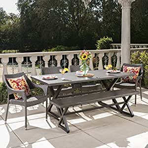 Isoleeda Outdoor 6 Piece Grey Aluminum Dining Set with Bench and Grey Wicker Stacking Chairs