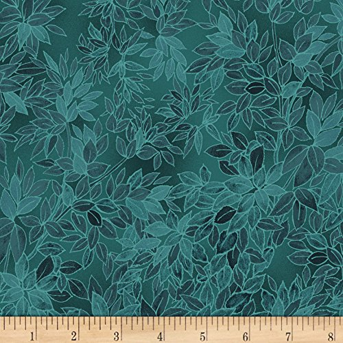 - RJR Fashion Fabrics Miyako Packed Leaves Teal Fabric by The Yard