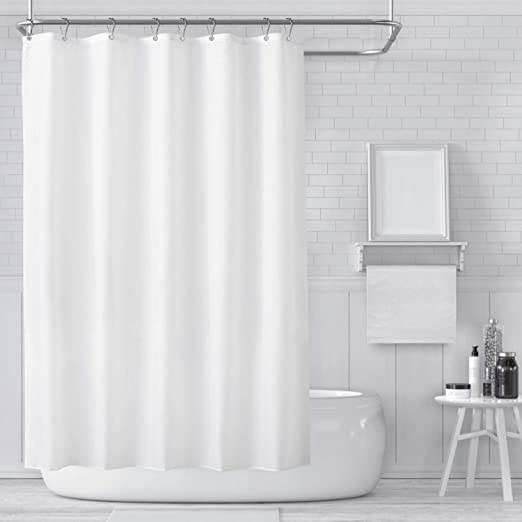Shower Curtain Waterproof Polyester Fabric Home Bathroom Solid White With Hooks