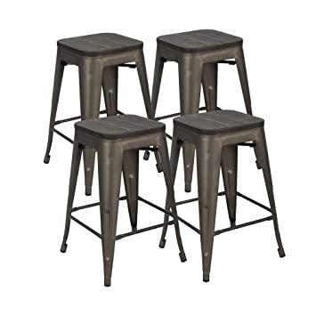 Enjoyable Bonzy Home Metal Bar Stools Set Of 4 24 Indoor Outdoor Bar Stools With Wood Seat High Backless Stackable Home Patio Kitchen Dining Stool Backless Uwap Interior Chair Design Uwaporg