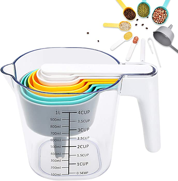 FAVIA Measuring Cup and Measuring Spoons Set with One Scraper One Funnel Plastic Cooking Baking Kitchen Utensil BPA Free Dishwasher Safe 10 Pieces